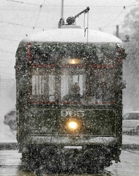 New Orleans streetcar in the snow