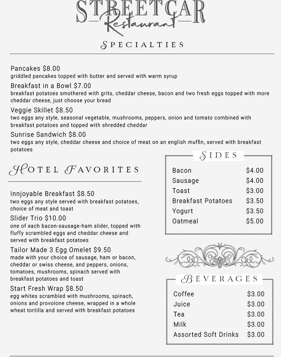 Streetcar Restaurant at the Holiday Inn 2021 Menu